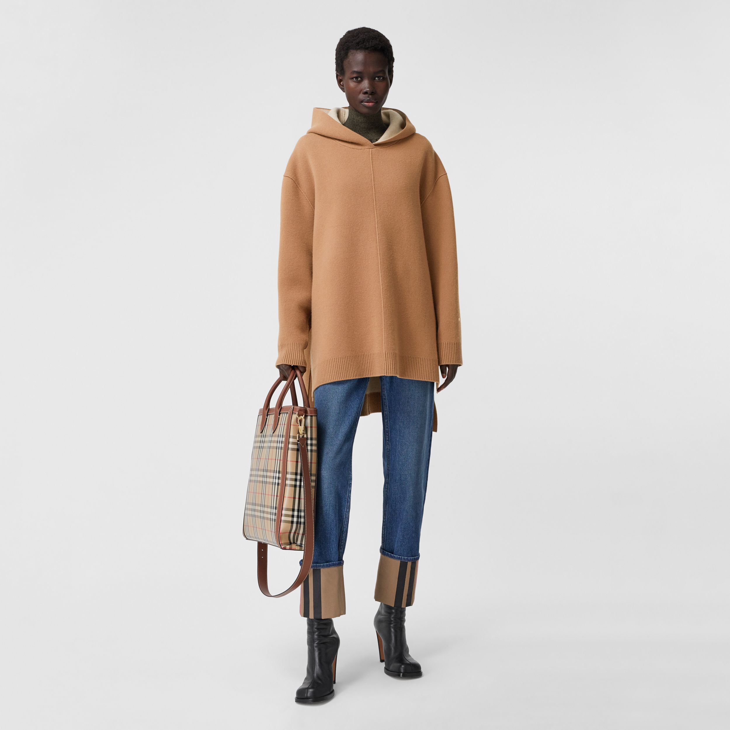 Double-faced Merino Wool Cashmere Blend Hoodie in Warm Camel - Women | Burberry - 1