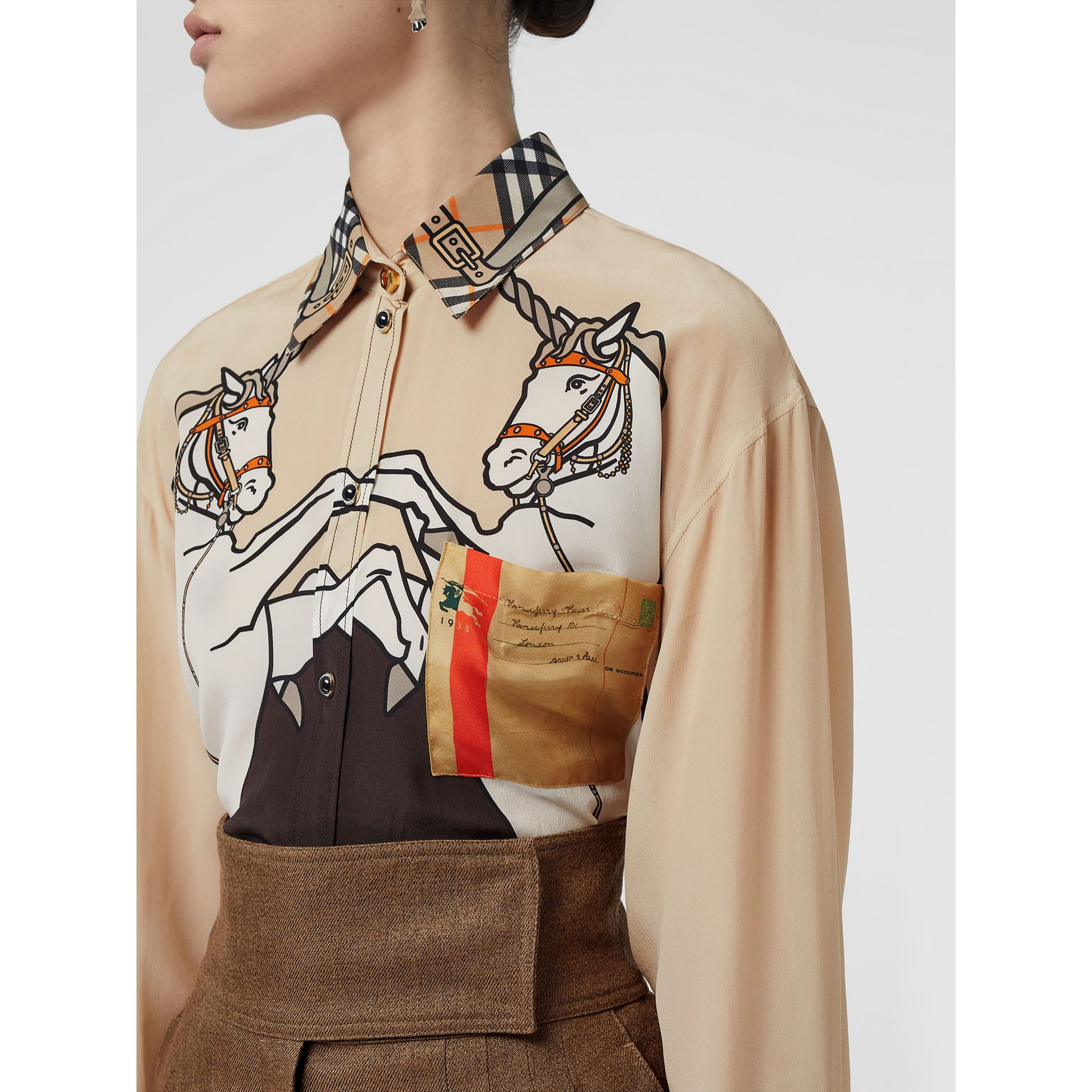 Unicorn Print Silk Shirt in Light Camel - Women | Burberry - gallery image 6