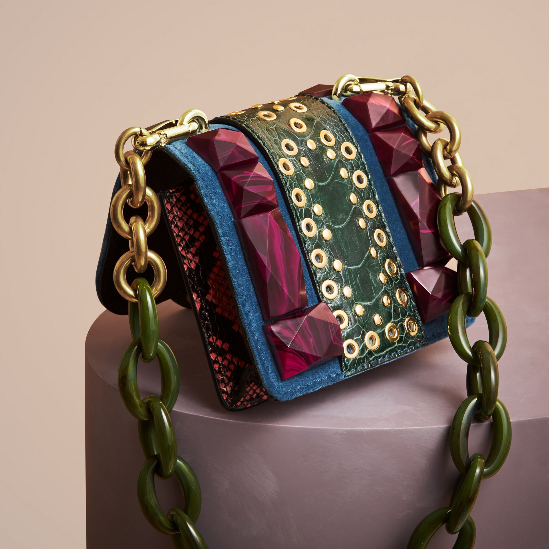 Brilliant blue The Mini Square Buckle Bag in Velvet and Ostrich - gallery image 4