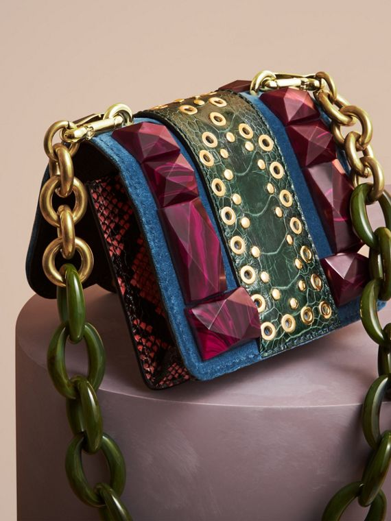 Brilliant blue The Mini Square Buckle Bag in Velvet and Ostrich - cell image 3