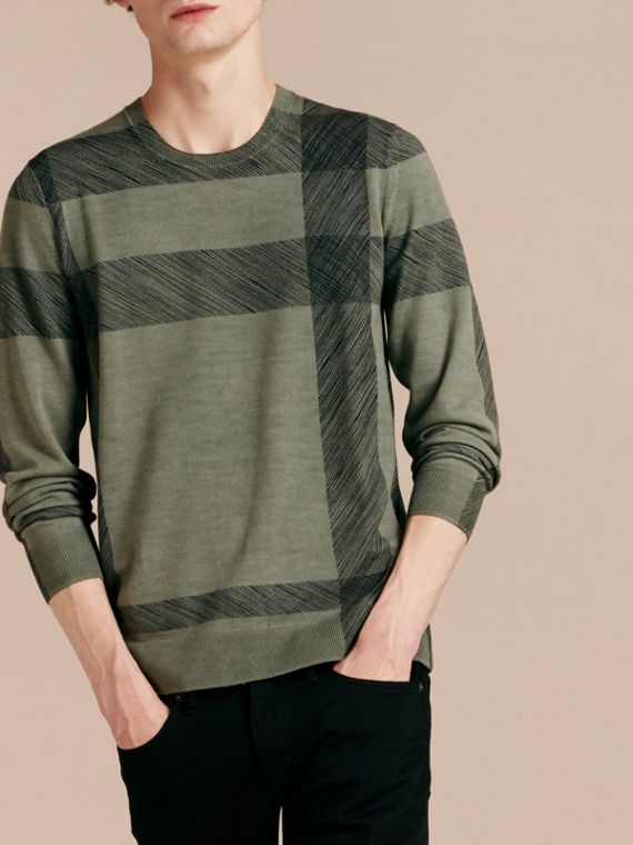 Eucalyptus green Abstract Check Merino Wool Sweater Eucalyptus Green - cell image 3