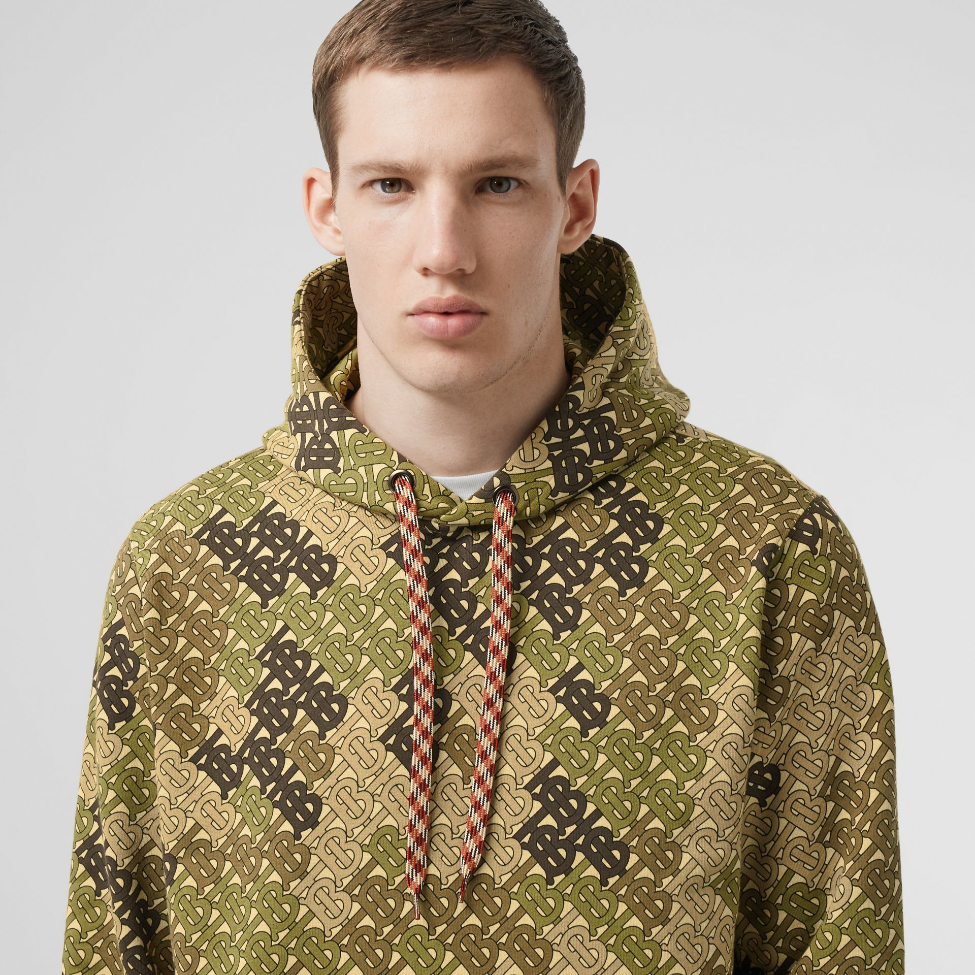 Monogram Print Cotton Hoodie in Khaki Green - Men | Burberry - gallery image 6