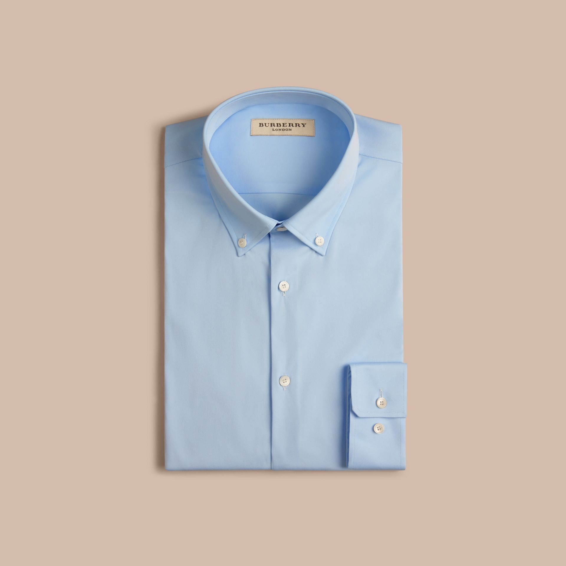 City blue Slim Fit Button-down Collar Stretch-cotton Shirt City Blue - gallery image 4