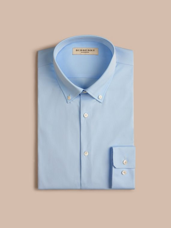 Slim Fit Button-down Collar Stretch-cotton Shirt in City Blue - cell image 3