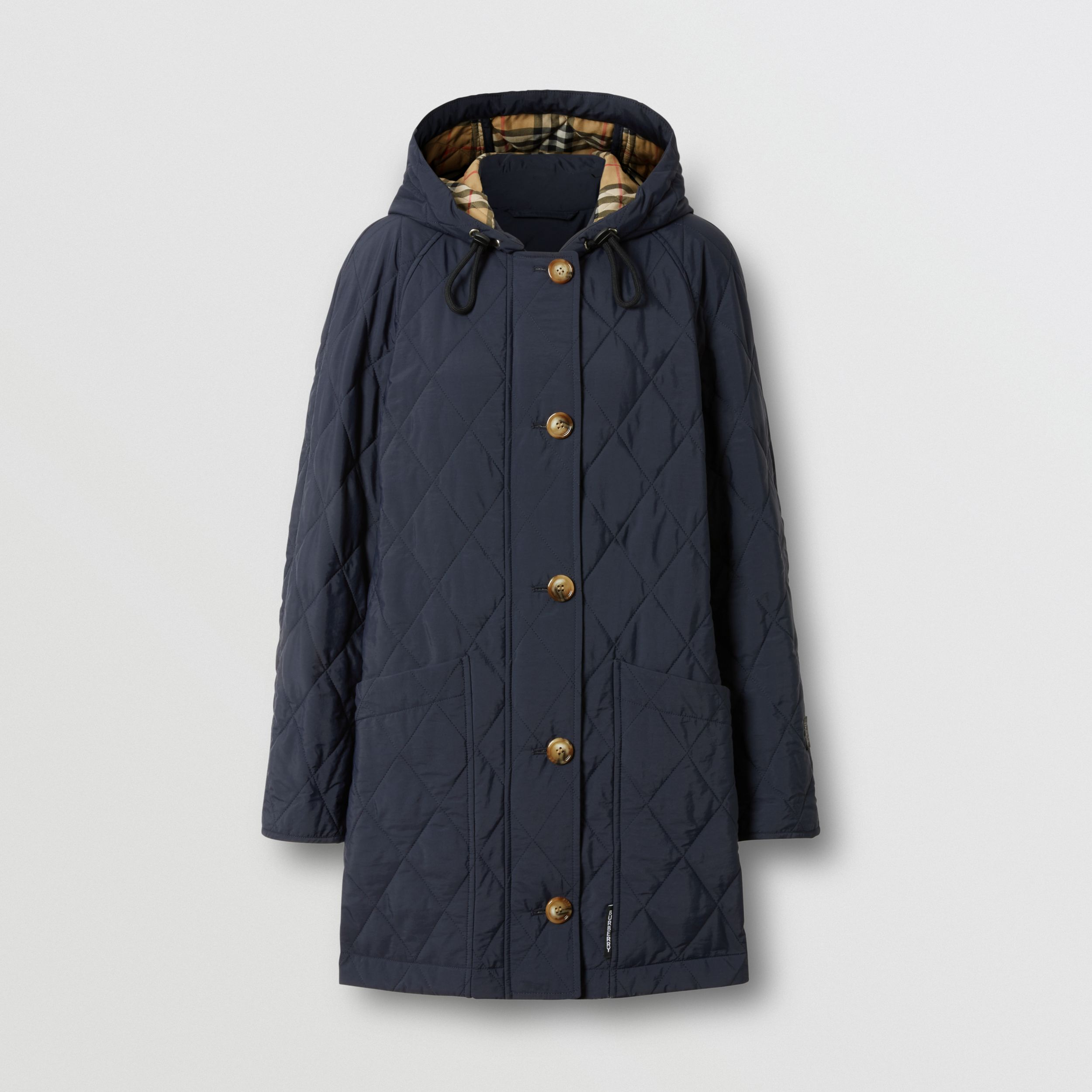 Diamond Quilted Thermoregulated Hooded Coat in Navy - Women | Burberry - 4