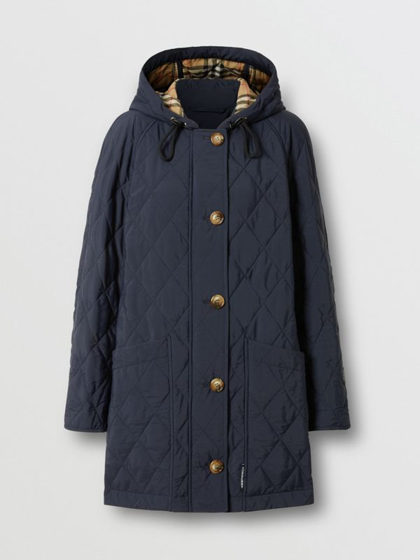 Diamond Quilted Thermoregulated Hooded Coat in Navy - Women | Burberry Australia - cell image 3