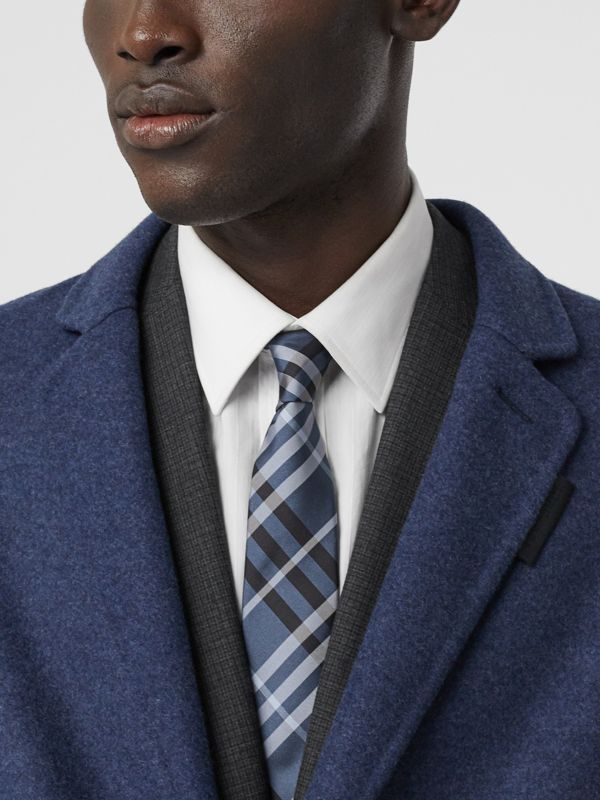 Classic Cut Vintage Check Silk Tie in Steel Blue - Men | Burberry - cell image 2