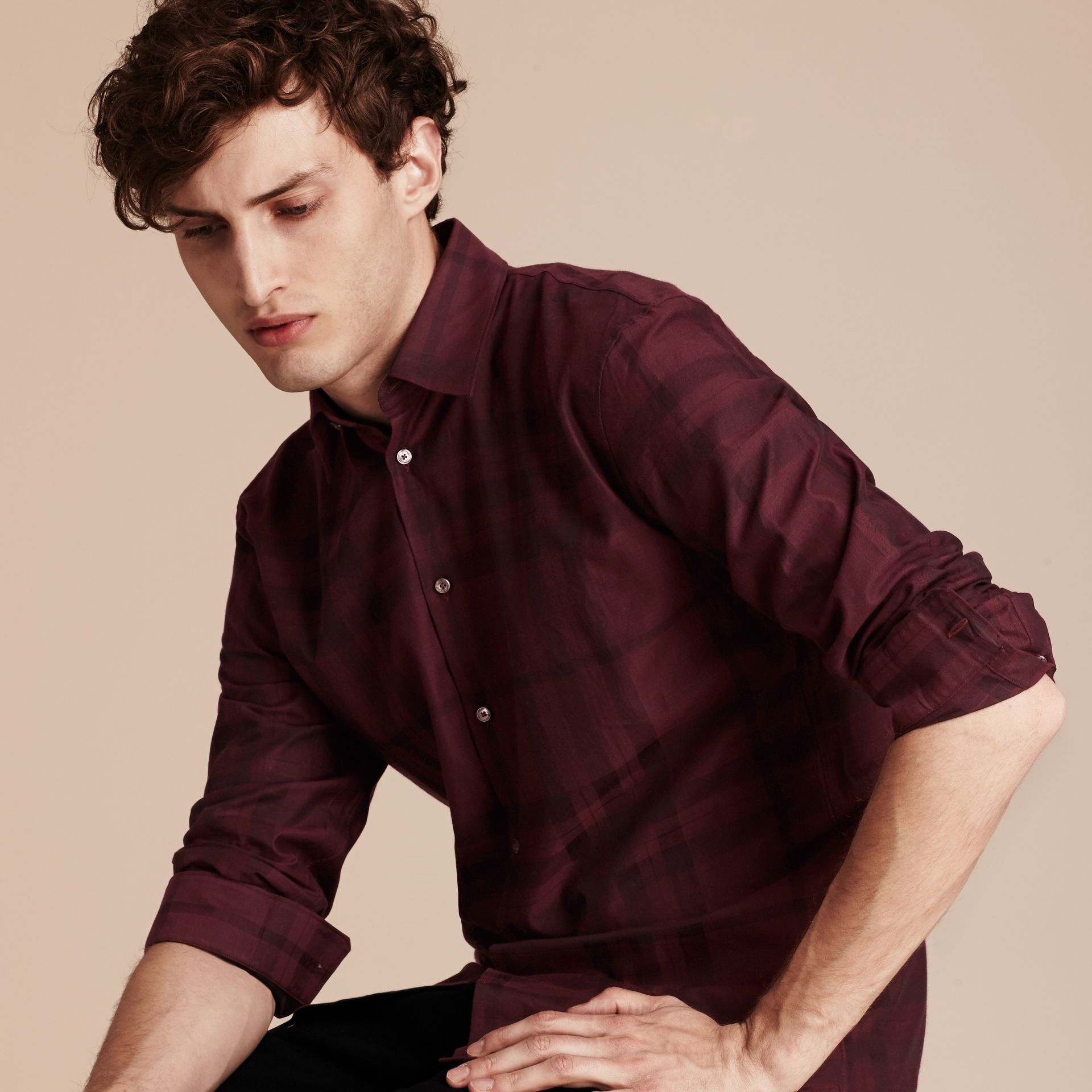 Deep burgundy Check Cotton Flannel Shirt Deep Burgundy - gallery image 5