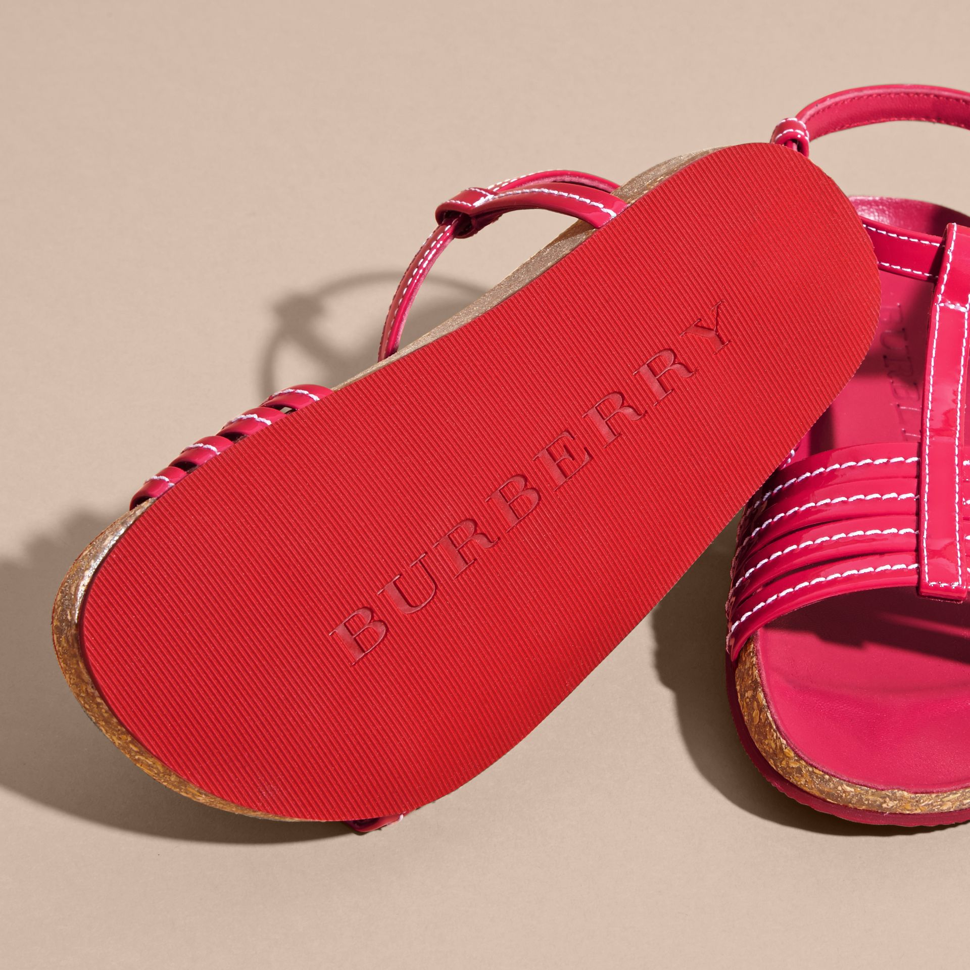 Cork Detail Patent Leather Sandals in Berry Pink | Burberry - gallery image 2