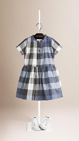 Baumwollkleid mit Check-Muster und Biesendetail