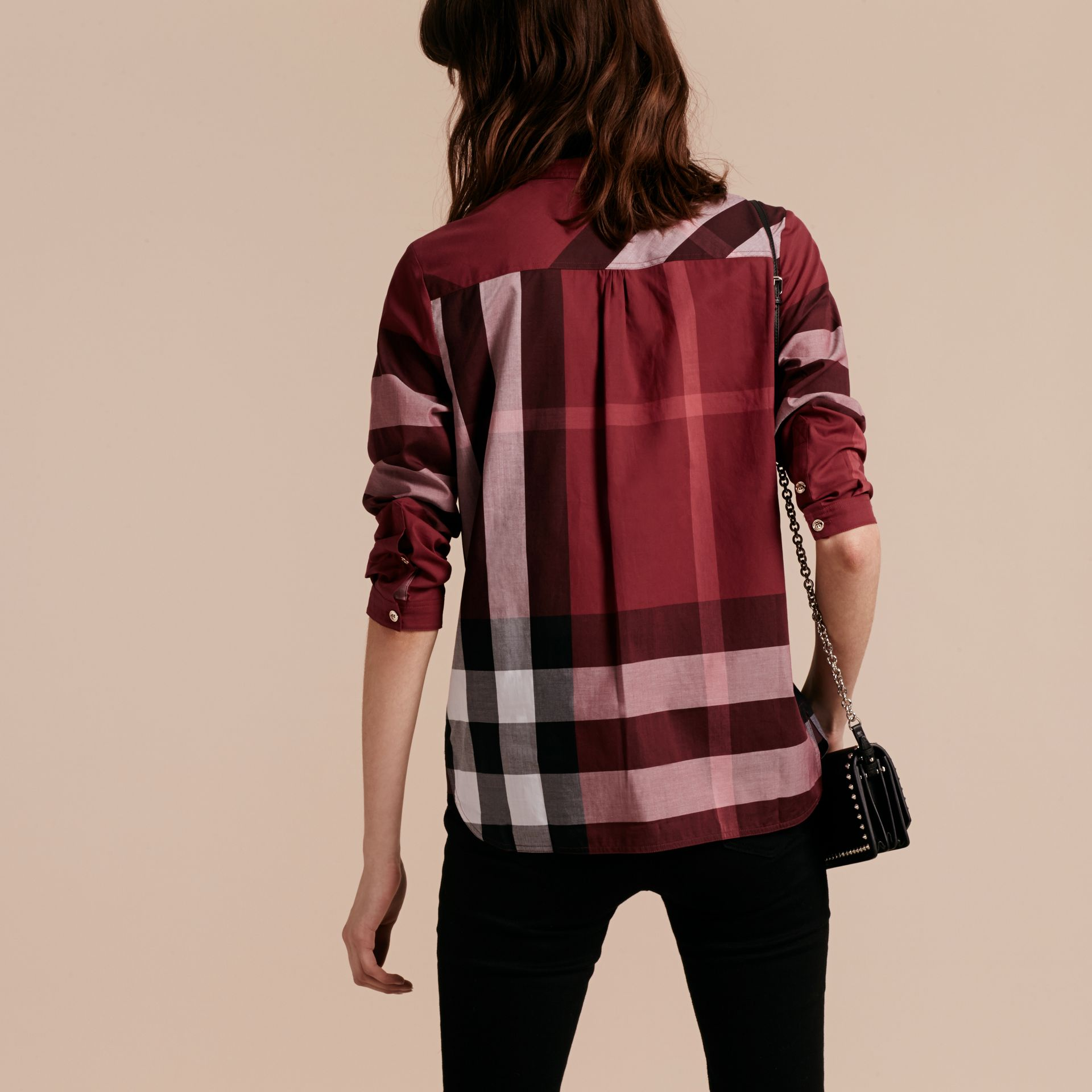 Carmine red Check Cotton Tunic Shirt Carmine Red - gallery image 3