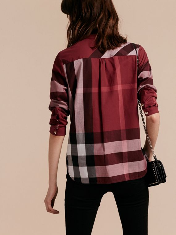 Carmine red Check Cotton Tunic Shirt Carmine Red - cell image 2