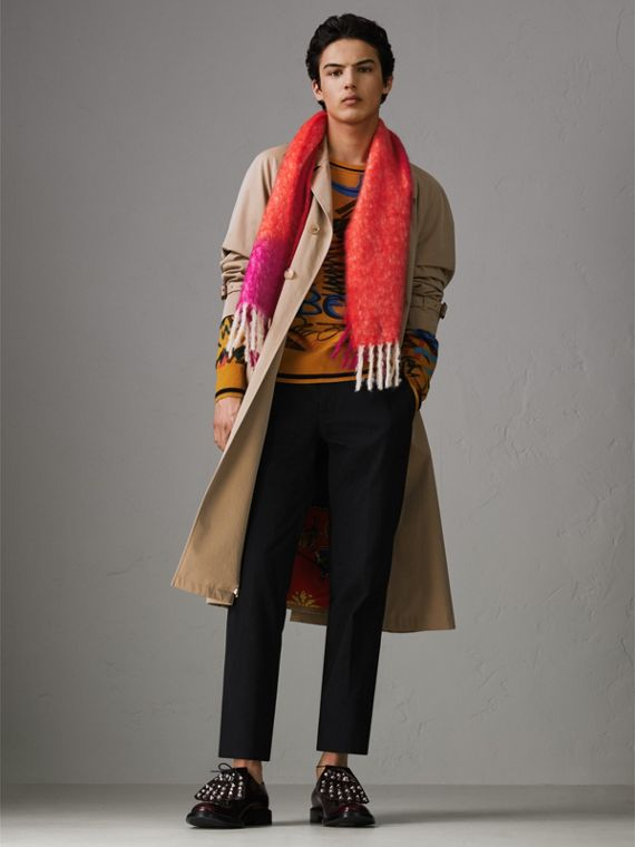 Two-tone Mohair Wool Scarf in Clementine | Burberry - cell image 2