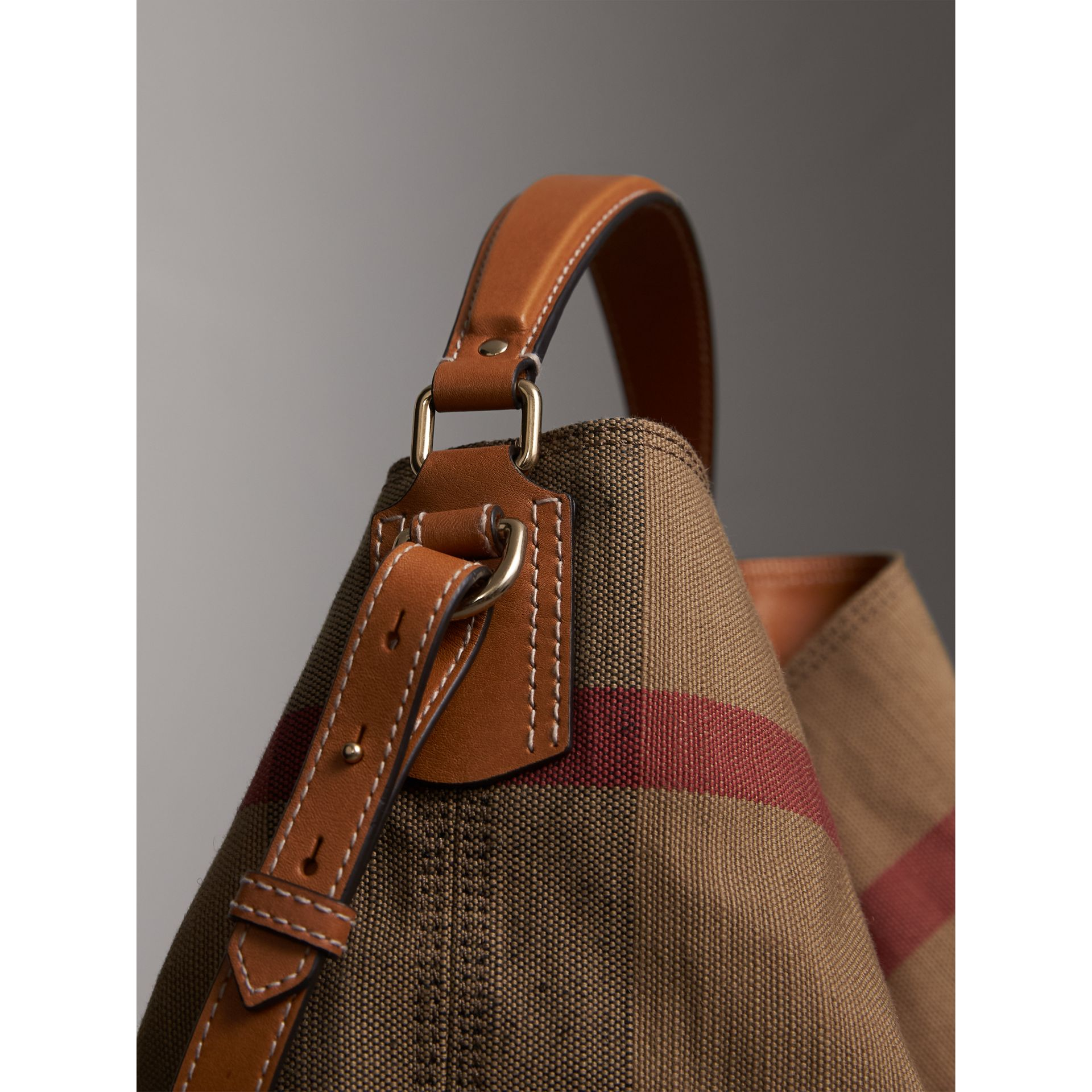Medium Canvas Check Hobo Bag in Saddle Brown - Women | Burberry - gallery image 2