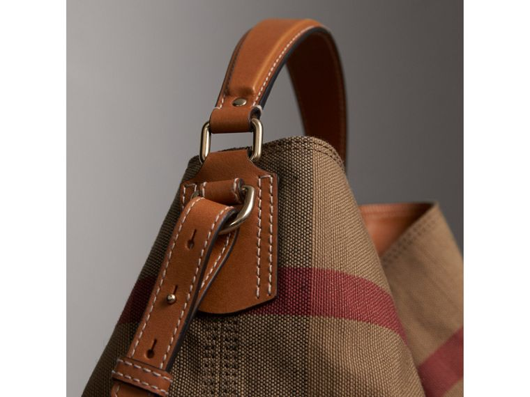 Medium Canvas Check Hobo Bag in Saddle Brown - Women | Burberry - cell image 1