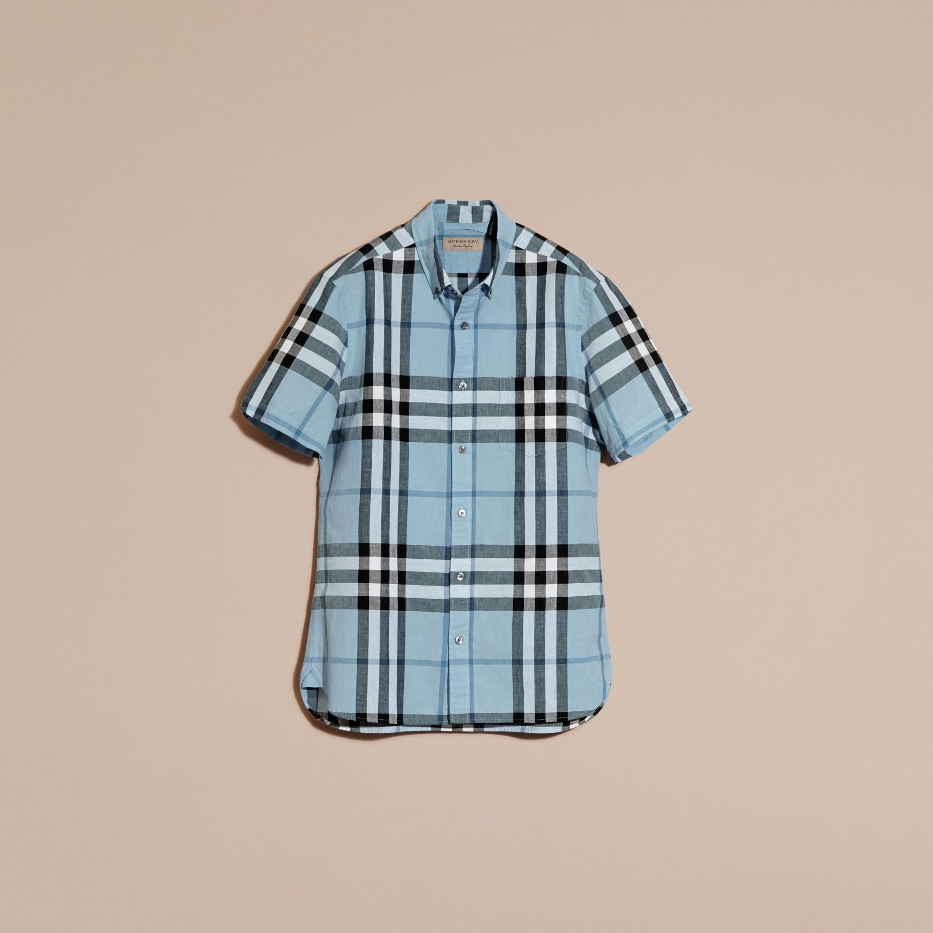 Short-sleeved Check Linen Cotton Shirt in Pale Blue - gallery image 3