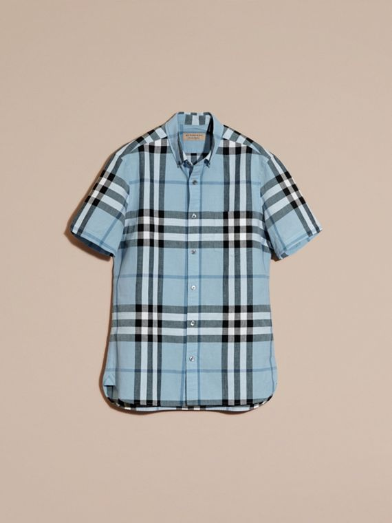 Short-sleeved Check Linen Cotton Shirt in Pale Blue - cell image 2