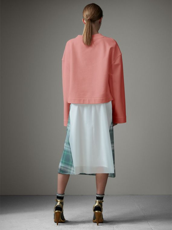 Cropped Sweatshirt with Crystal Brooch in Vintage Rose - Women | Burberry Australia - cell image 2