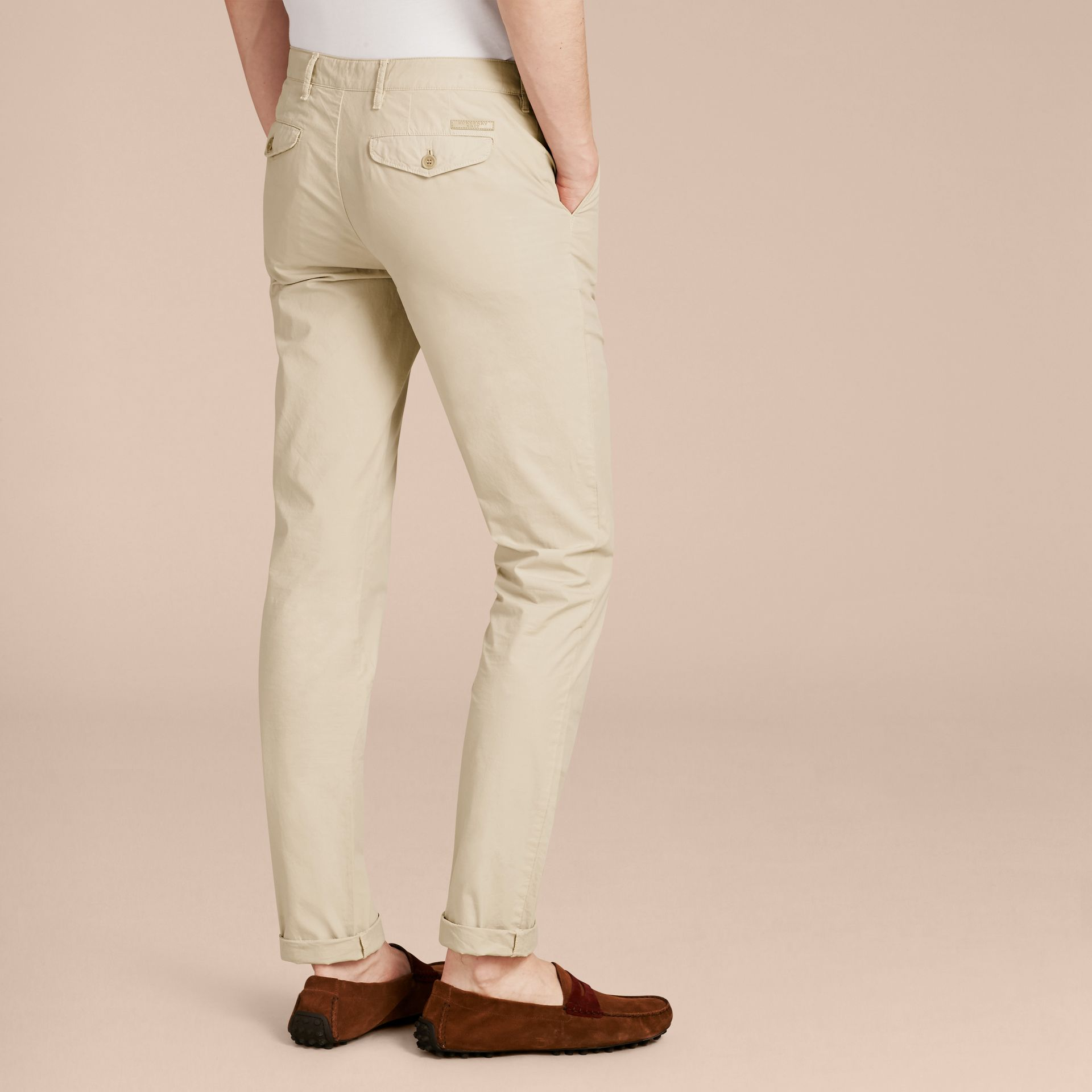 Slim Fit Cotton Poplin Chinos in Stone - gallery image 3