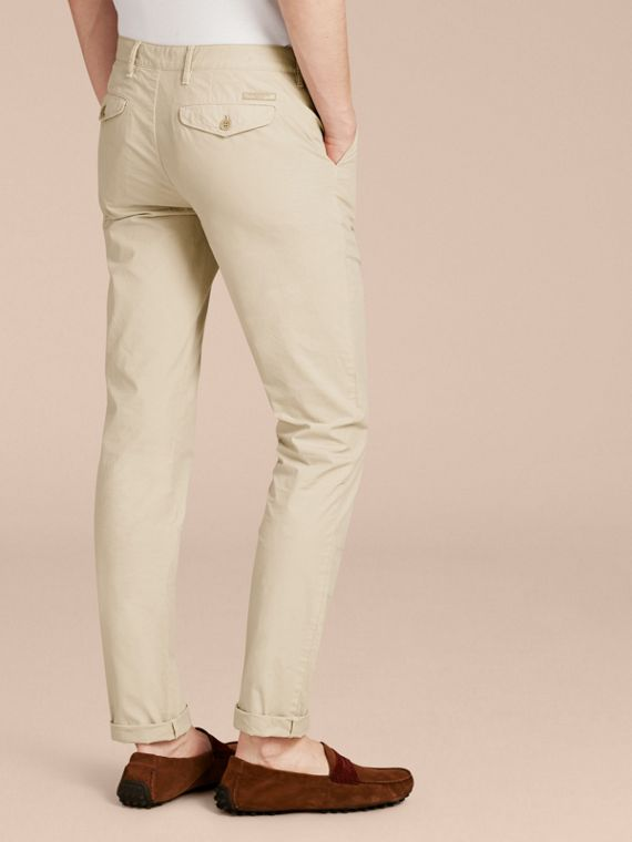 Slim Fit Cotton Poplin Chinos in Stone - Men | Burberry - cell image 2