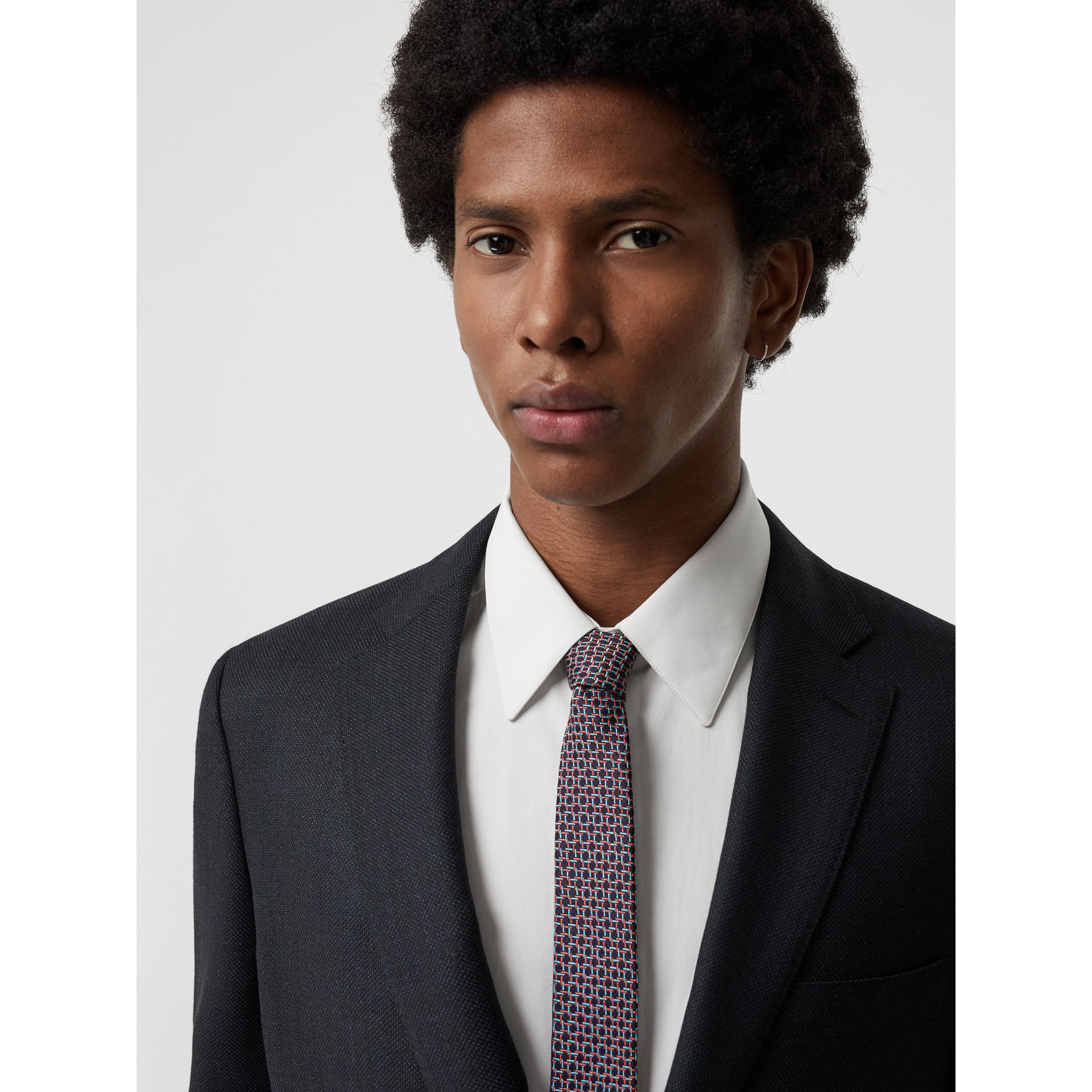Slim Cut Micro Check Silk Jacquard Tie in Dark Navy - Men | Burberry United Kingdom - gallery image 2