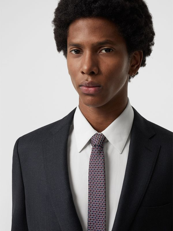 Slim Cut Micro Check Silk Jacquard Tie in Dark Navy - Men | Burberry - cell image 2