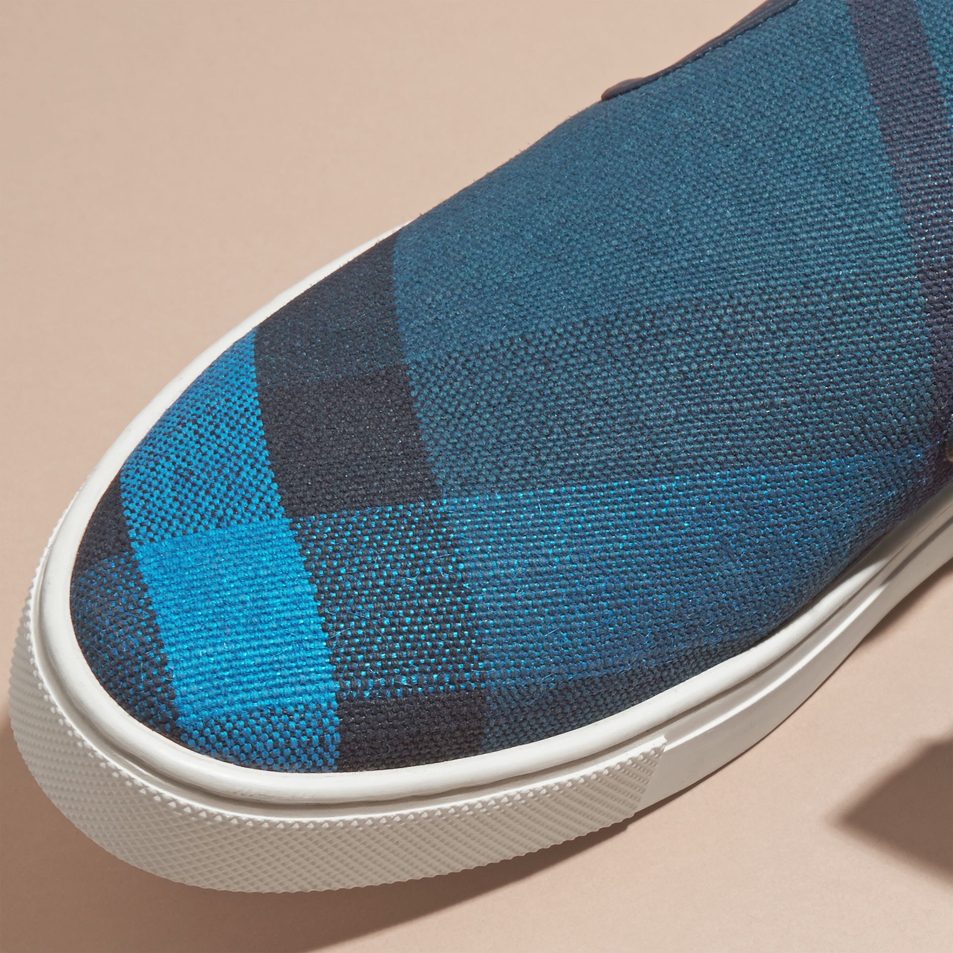 Ultramarine blue/blk Canvas Check and Leather Slip-on Trainers Ultramarine Blue/blk - gallery image 2