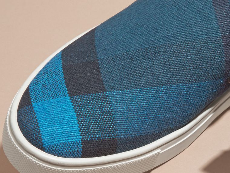 Ultramarine blue/blk Canvas Check and Leather Slip-on Trainers Ultramarine Blue/blk - cell image 1