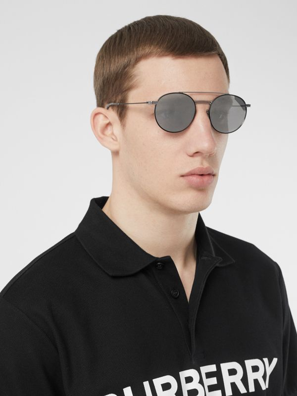 Top Bar Detail Round Frame Sunglasses in Gunmetal - Men | Burberry - cell image 2