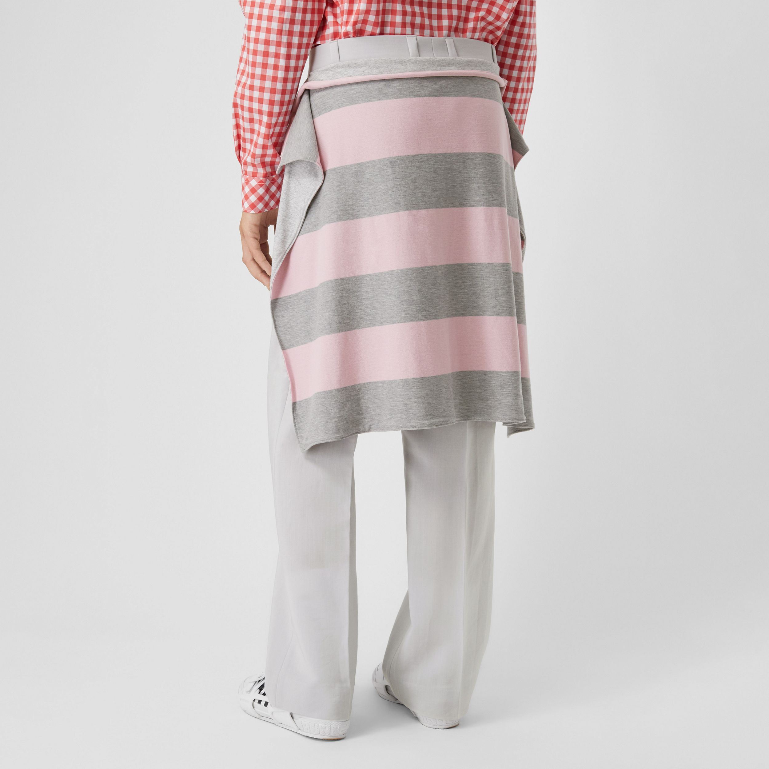 Striped Skirt Detail Mohair Wool Wide-leg Trousers in Light Pebble Grey | Burberry - 3