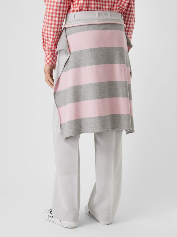 Striped Skirt Detail Mohair Wool Wide-leg Trousers in Light Pebble Grey | Burberry - cell image 2