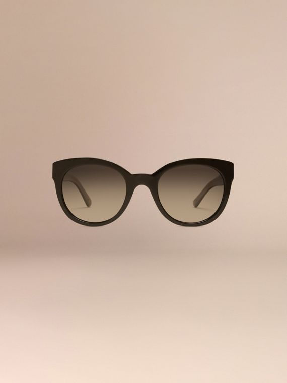 Black Check Detail Oval Sunglasses - cell image 2