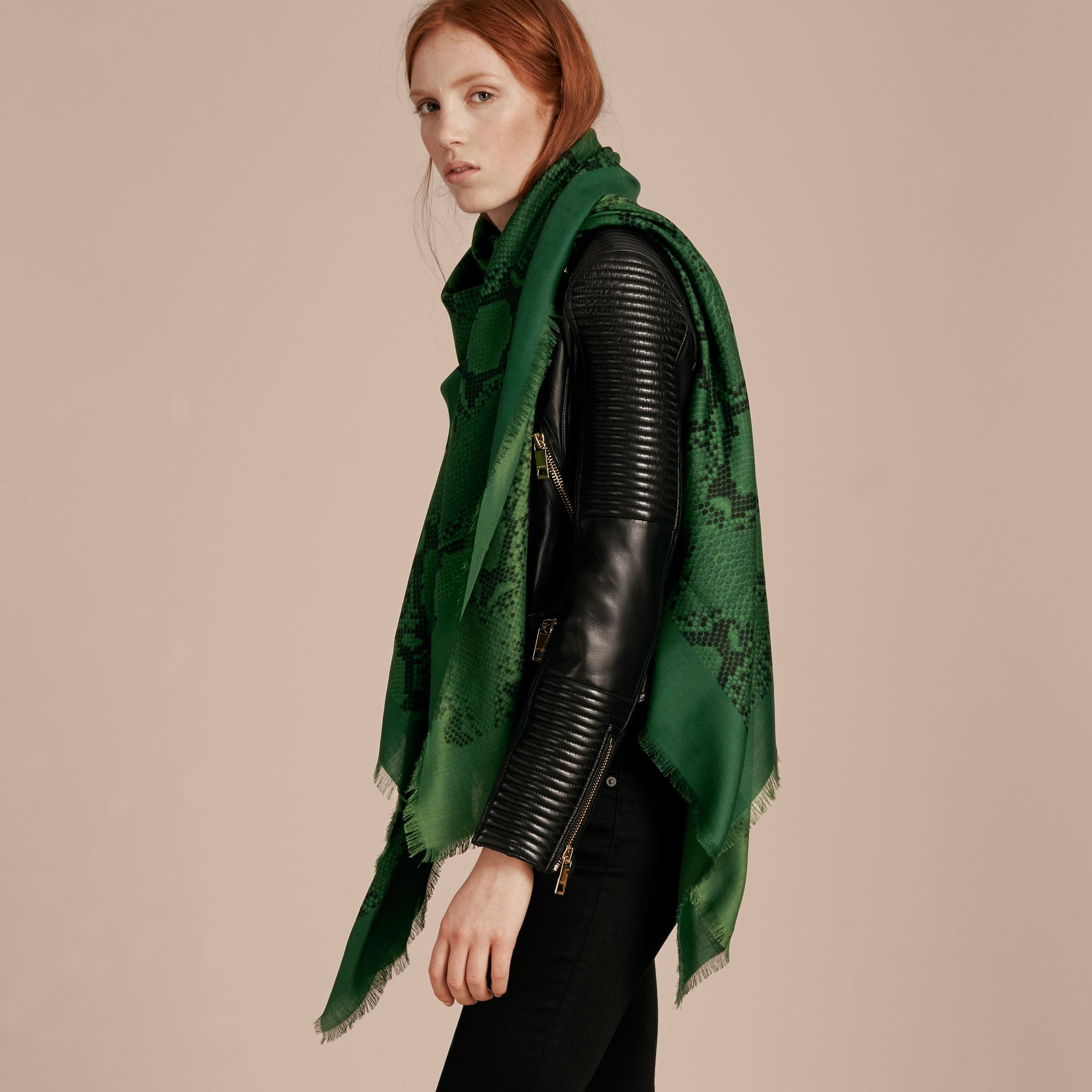 Bright green Lightweight Python Print Wool Cashmere Silk Poncho Bright Green - gallery image 3