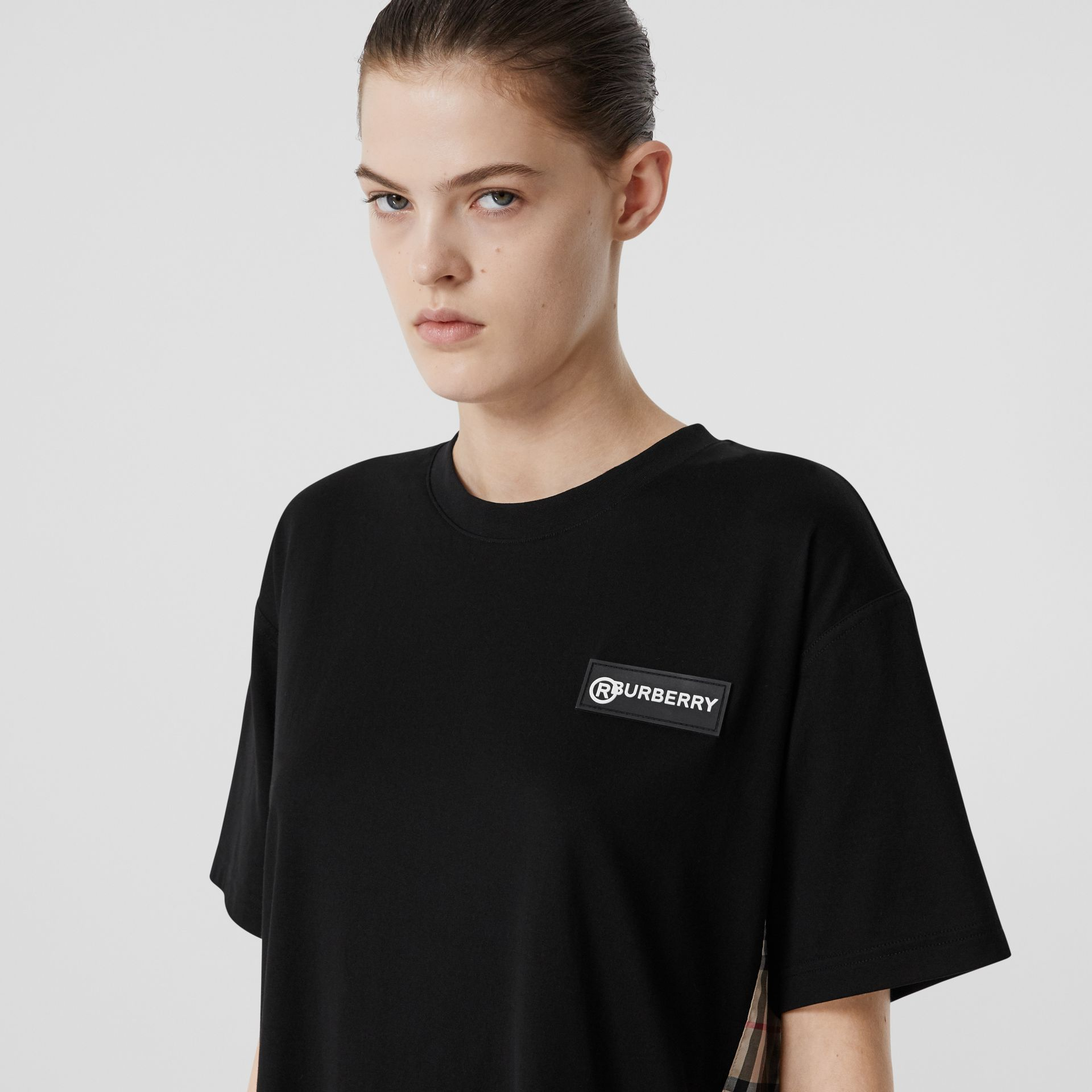 Vintage Check Panel Cotton Oversized T-shirt in Black - Women | Burberry United Kingdom - gallery image 1