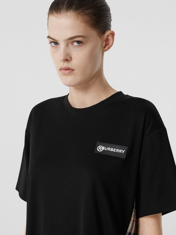 Vintage Check Panel Cotton Oversized T-shirt in Black - Women | Burberry United Kingdom - cell image 1