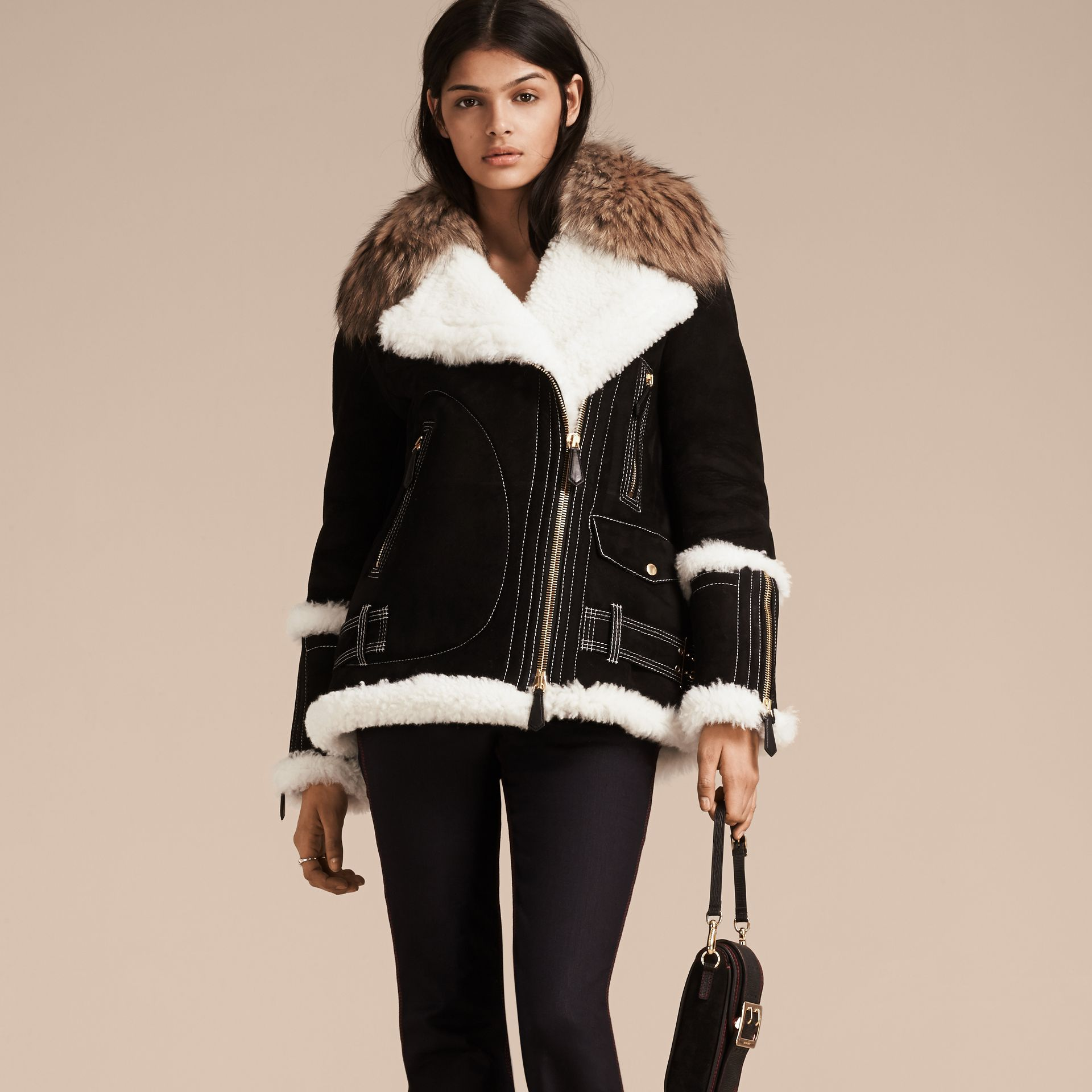 Black Fur-trim Suede and Shearling Aviator Jacket - gallery image 7