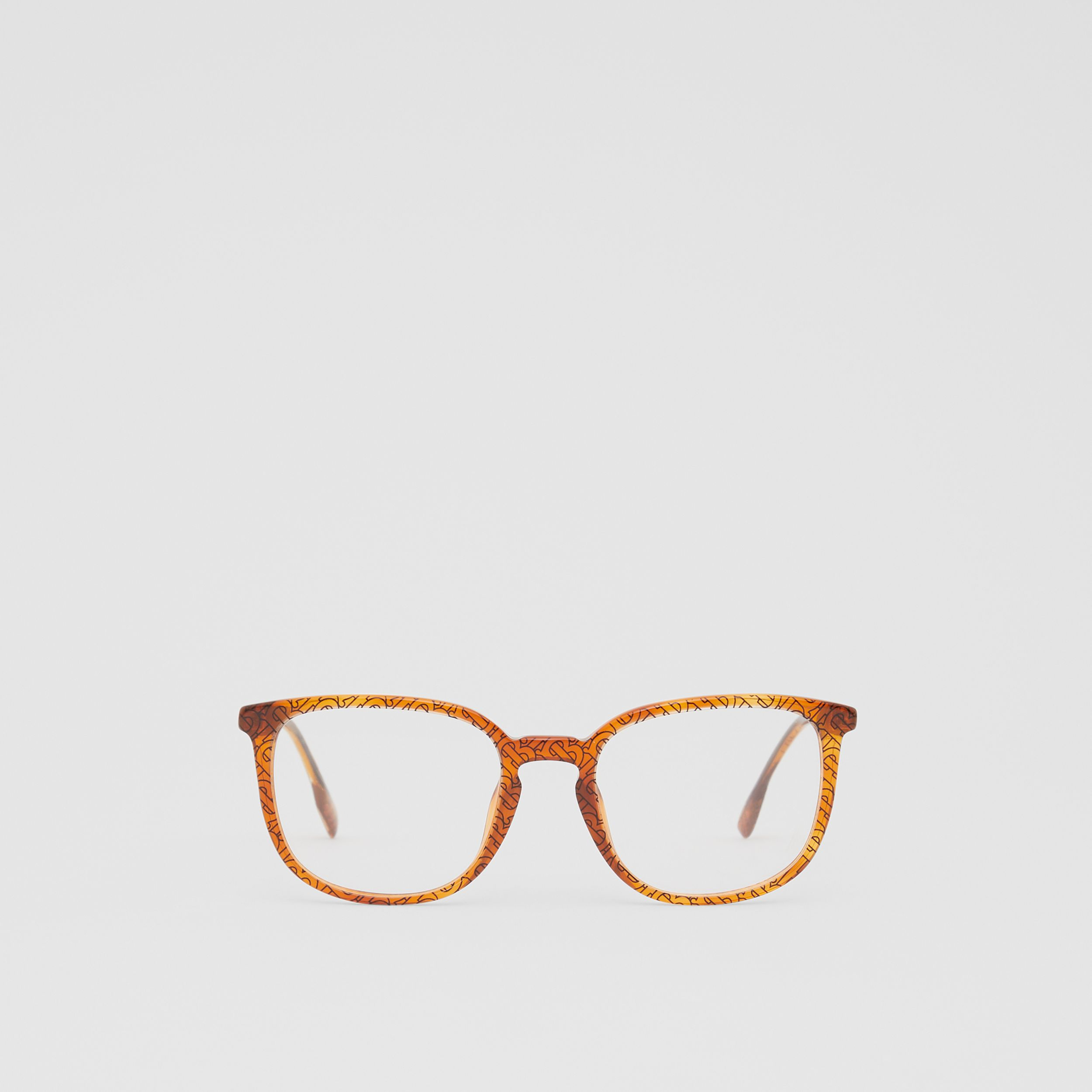 Monogram Print Square Optical Frames in Tortoiseshell Amber | Burberry - 1