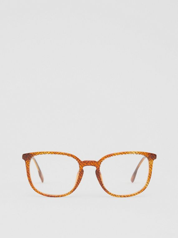 Monogram Print Square Optical Frames in Tortoiseshell Amber