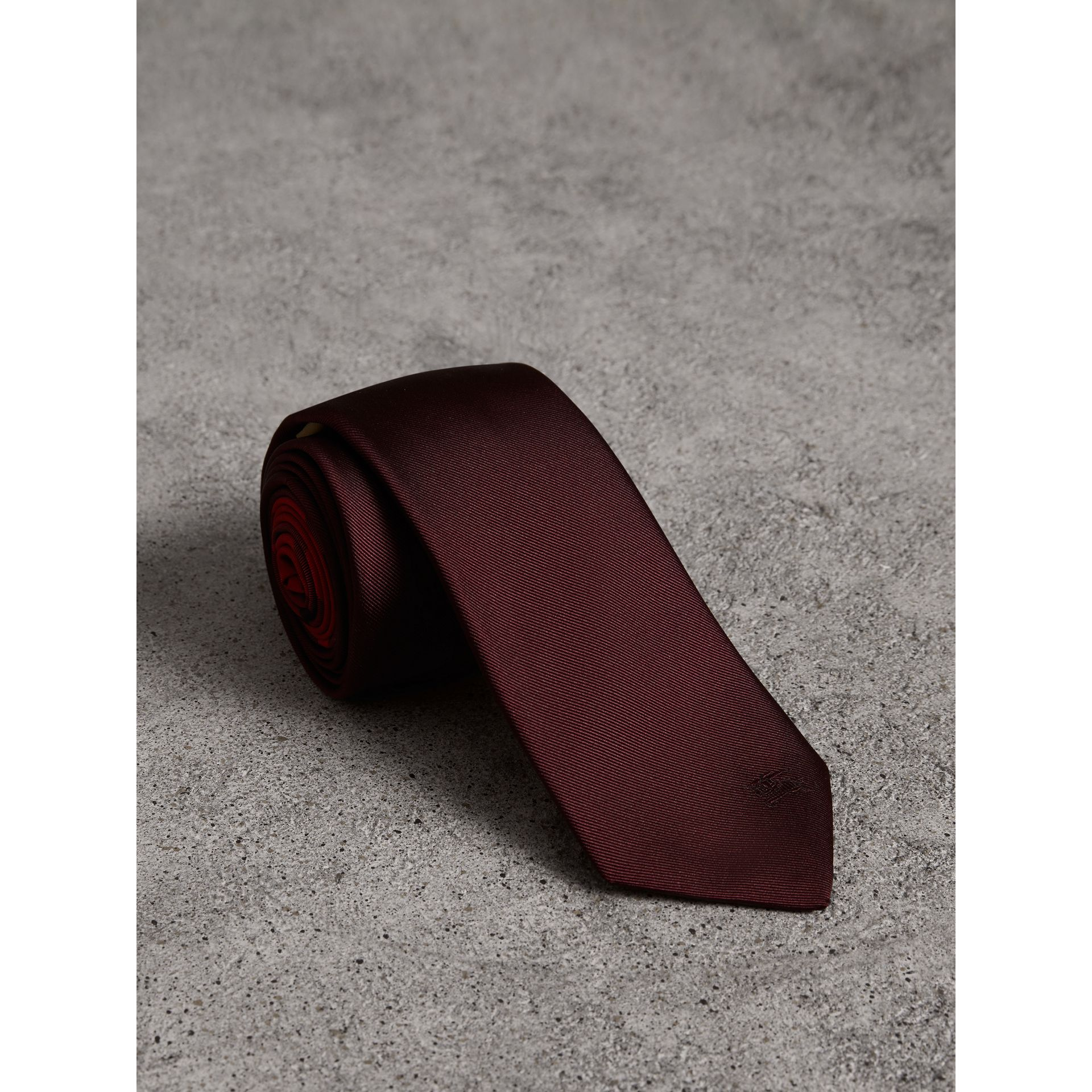 Slim Cut Check Silk Twill Tie in Mahogany Red - Men | Burberry - gallery image 1
