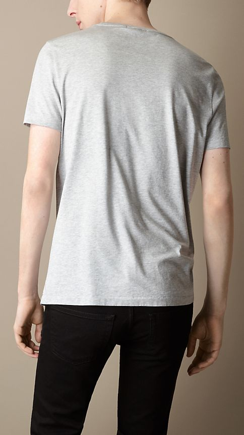 Pale grey melange Liquid Soft Cotton T-Shirt - Image 2