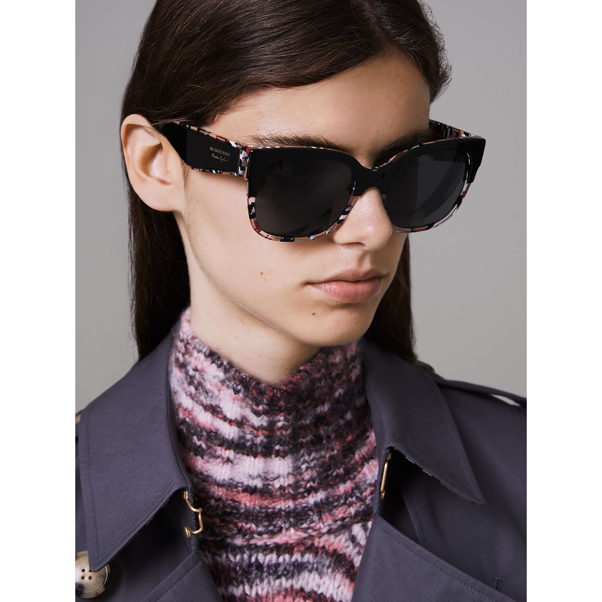 Patchwork Check Oversize Square Frame Sunglasses in Black - Women | Burberry Hong Kong - gallery image 2