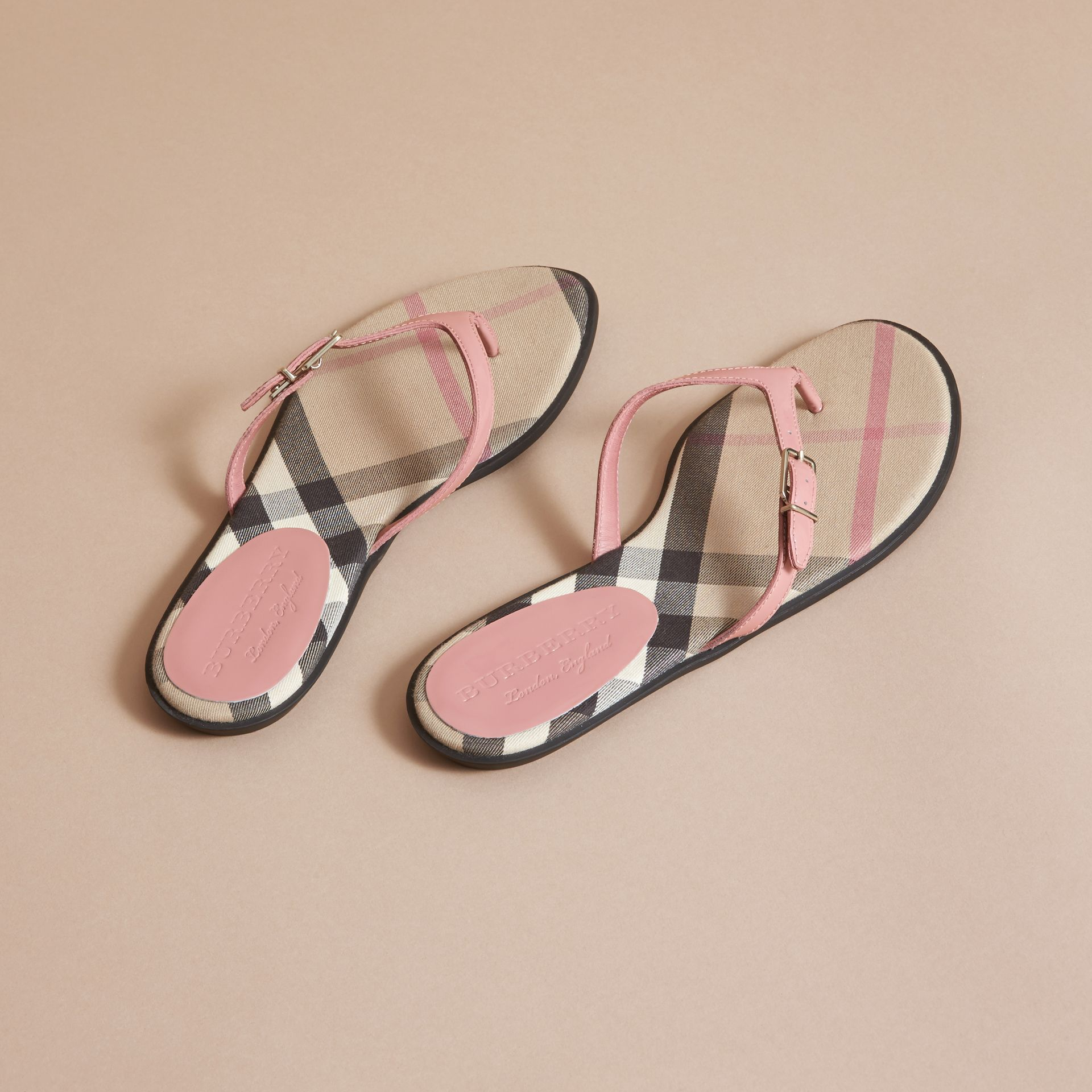 House Check and Patent Leather Sandals in Nude Pink - Women | Burberry - gallery image 3