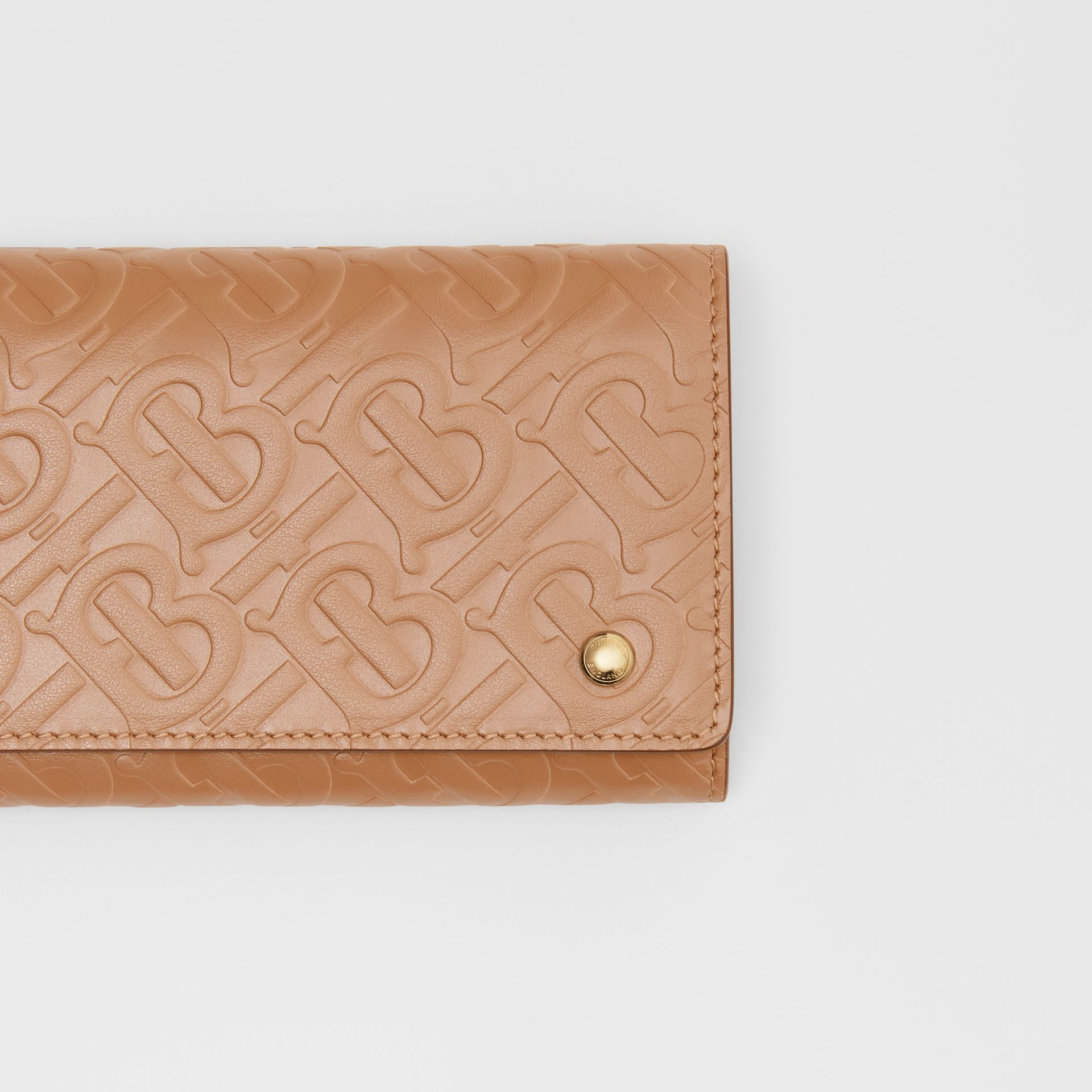 Monogram Leather Continental Wallet in Light Camel - Women | Burberry - gallery image 1