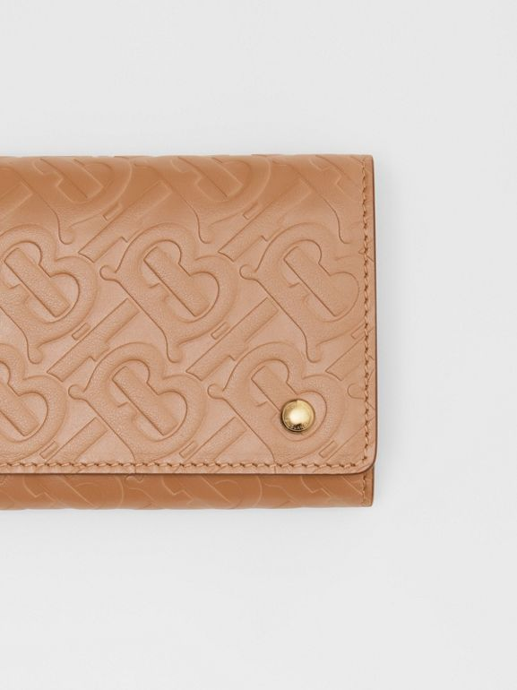 Monogram Leather Continental Wallet in Light Camel - Women | Burberry United Kingdom - cell image 1