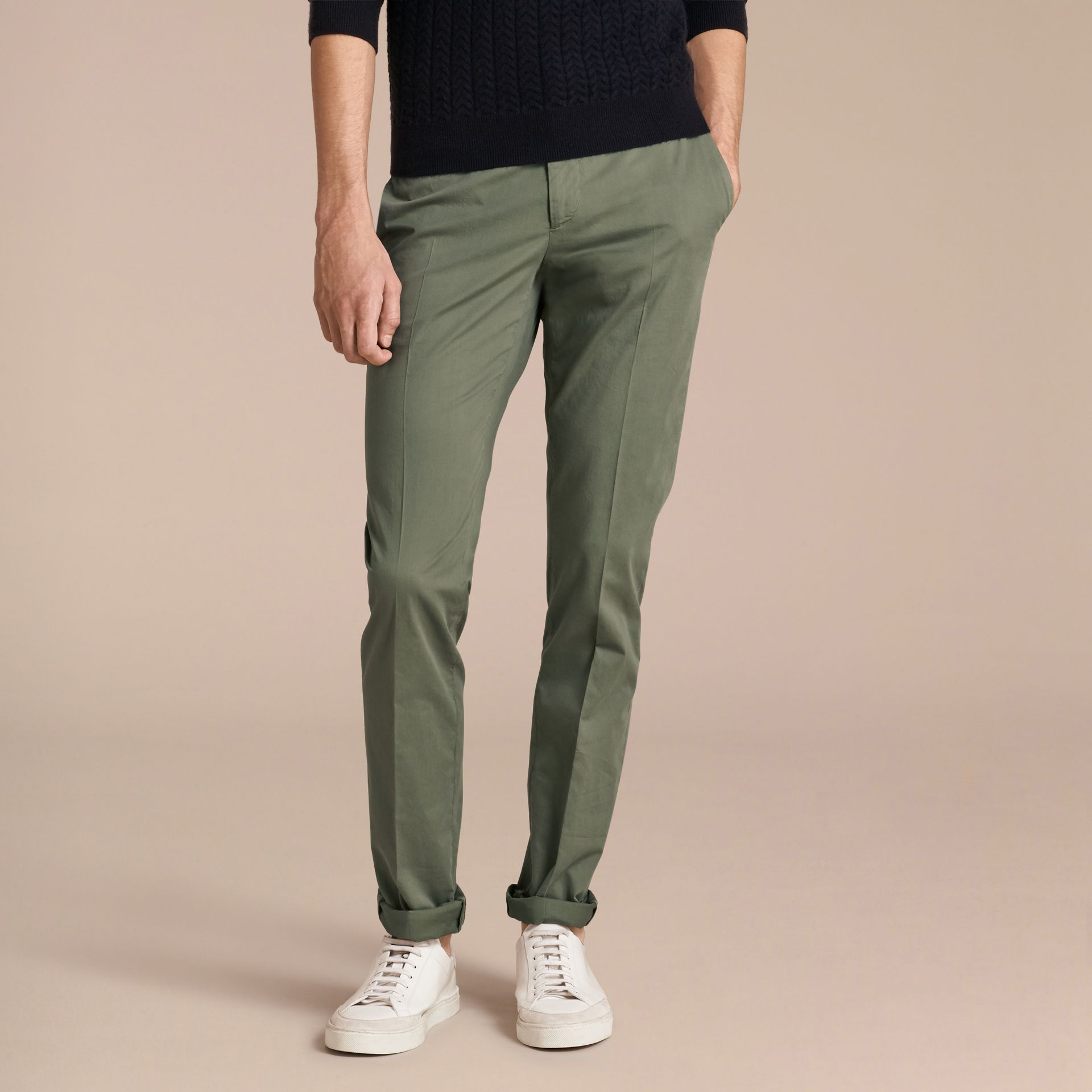 Slim Fit Stretch Cotton Trousers Khaki Green - gallery image 6