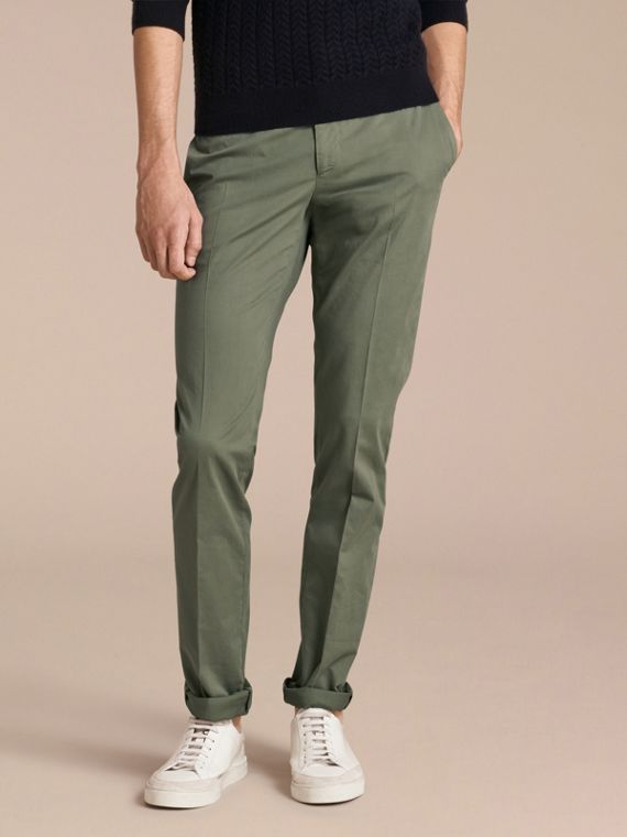 Slim Fit Stretch Cotton Trousers Khaki Green