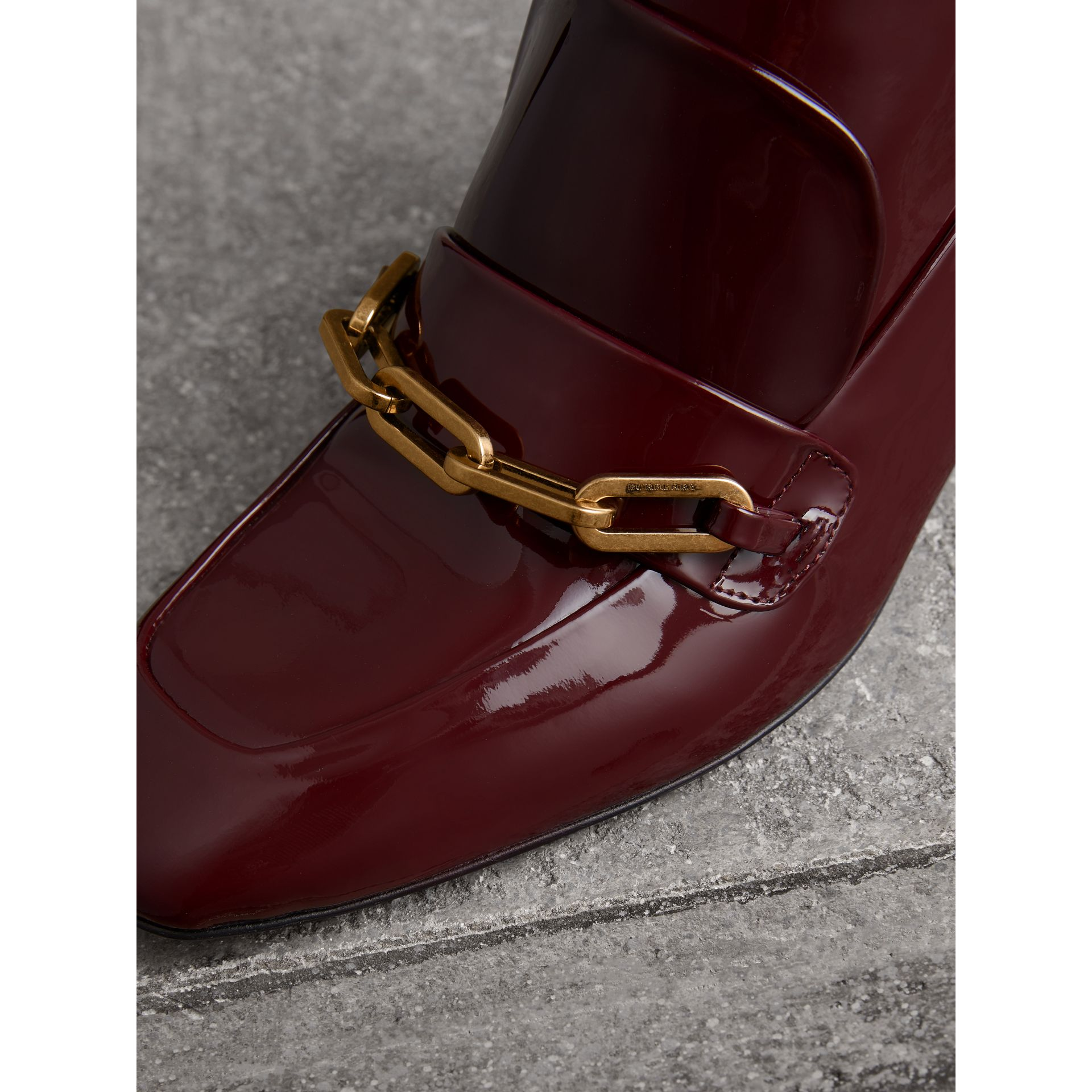 Link Detail Patent Leather Ankle Boots in Burgundy Red - Women | Burberry - gallery image 1