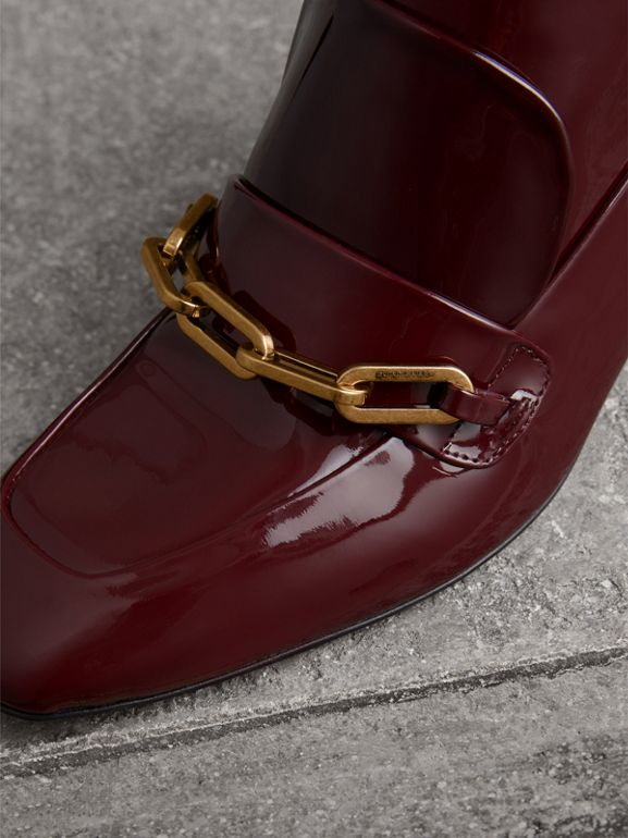 Link Detail Patent Leather Ankle Boots in Burgundy Red - Women | Burberry - cell image 1
