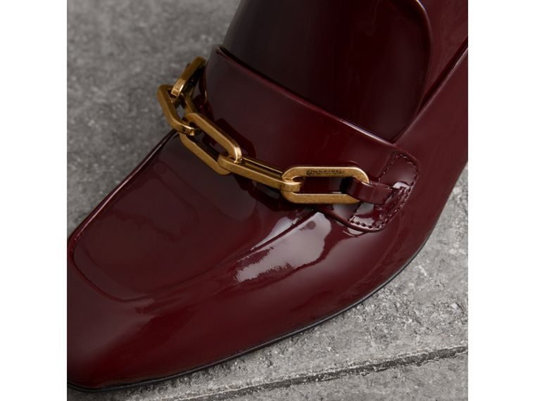 Link Detail Patent Leather Ankle Boots in Burgundy Red - Women | Burberry Australia - cell image 1