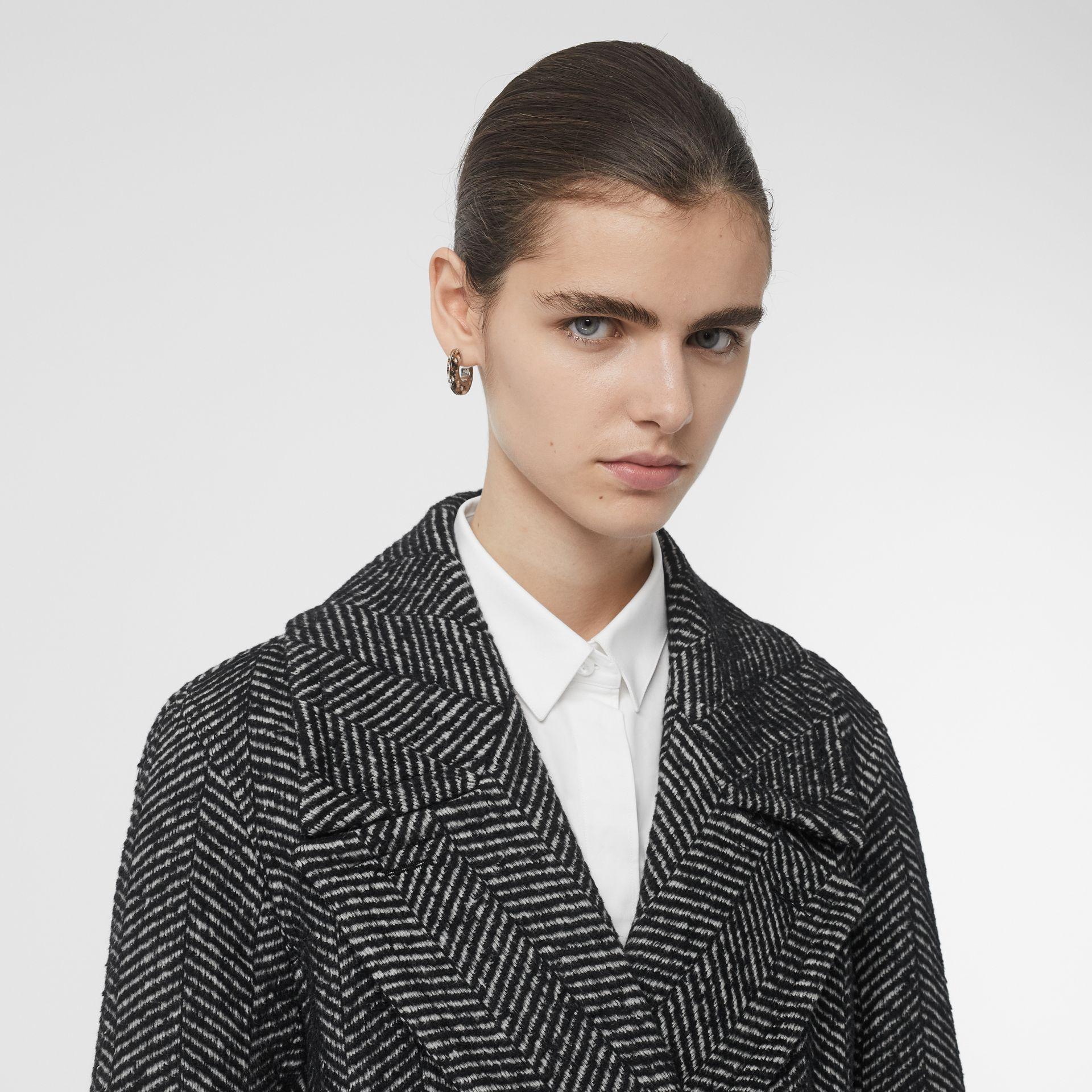 Herringbone Wool Silk Blend Double-breasted Coat in Black - Women | Burberry - gallery image 1